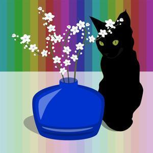 Blue Glass Vase with blossom and black cat by Claire Huntley