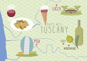 Map of Lucca and Pisa, Tuscany, Italy by Claire Huntley