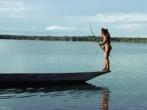 Indian Fishing with Bow and Arrow, Xingu, Amazon Region, Brazil, South America by Claire Leimbach