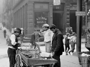 Clam Seller in Mulberry Bend, N.Y.