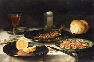 A Herring with Capers and a Sliced Orange on Plates and a Bowl of Shrimp on a Table by Clara Peeters