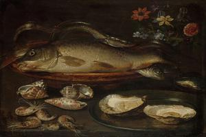 Still Life with Fish, Oysters and Shrimps by Clara Peeters