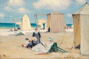 Beach at Dinard by Clarence Alphonse Gagnon