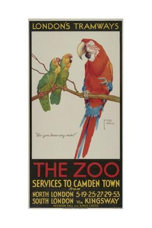 The Zoo, London County Council (Lc) Tramways Poster, 1932 by Clarence Lawson Wood