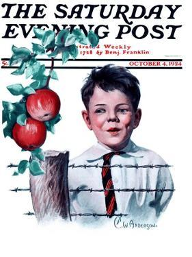 """""""Boy Tempted by Apples,"""" Saturday Evening Post Cover, October 4, 1924 by Clarence William Anderson"""