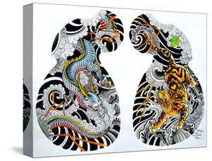 Dragon Tiger Tattoo Half Sleeve by Clark North