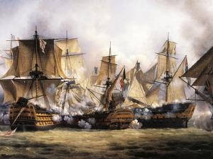 Clash Between English Temeraire and French Redoubtable Ships During Battle of Trafalgar