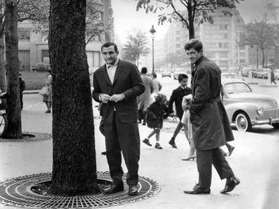 Classe tous risques by Claude Sautet with Lino Ventura and Jean-Paul Belmondo, 1960 (b/w photo)
