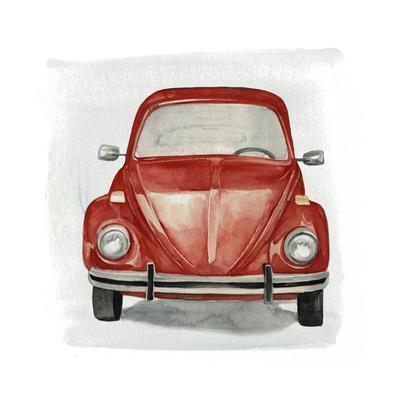 Blue Car City Landscape Art Large Poster Classic VW Beetle Canvas Pictures
