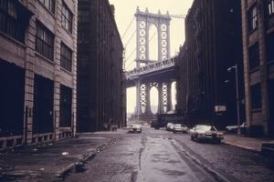 Classic View of the Manhattan Bridge Tower in Brooklyn. June 1974