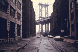 Classic View of the Manhattan Bridge Tower in Brooklyn. June 1974