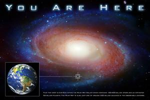 Classic You Are Here Galaxy Space Science Plastic Sign
