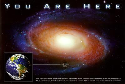 Laminated You are Here Galaxy Retro Solar System Sign Poster 12x18 inch