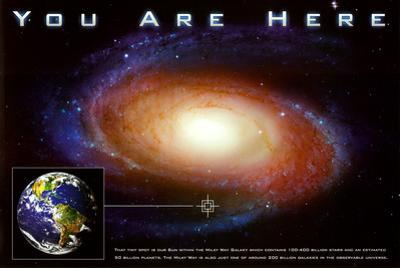 Classic You Are Here Galaxy Space Science Poster Print