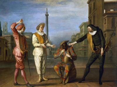 Tombeaux of Maitre Andre, Scene from Commedia Dell'Arte by Claude Gillot