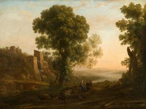 Landscape with Peasants Returning with Their Herds, c.1637 by Claude Lorrain