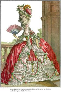 French Court Dress with Wide Panniers, 1778 by Claude Louis Desrais
