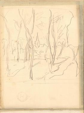 Bennecourt Seen Through the Trees (Pencil on Paper) by Claude Monet