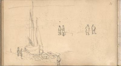Boat of Villerville Alongside the Quay, Study of Figures (Pencil on Paper) by Claude Monet