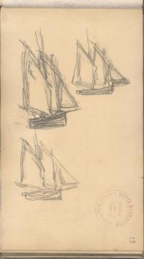 Boats of Villerville (Pencil on Paper) by Claude Monet