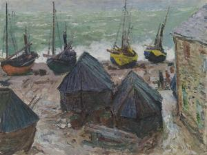 Boats on the Beach at Étretat, 1885 by Claude Monet