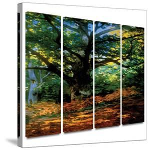 Bodmer at Oak at Fountainbleau 4 piece gallery-wrapped canvas by Claude Monet