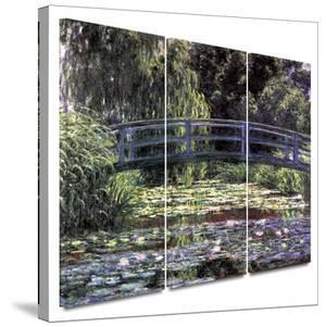 Bridge at Sea Rose Pond 3 piece gallery-wrapped canvas by Claude Monet