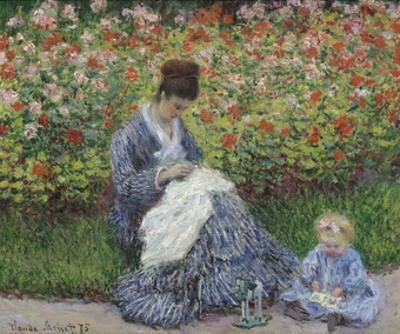 Camille Monet and a Child in the Artist's Garden in Argenteuil, 1875 by Claude Monet