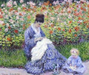 Camille Monet and a Child in the Artist's Garden in Argenteuil by Claude Monet
