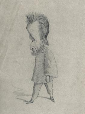 Caricature of the Journalist Theodore Pelloquet, 1858 (Charcoal on Paper) by Claude Monet