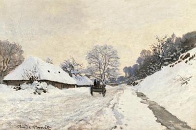 Cart. Route in the Snow, near Honfleur by Claude Monet