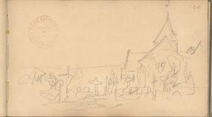 Church and Graveyard at Varengeville (Pencil on Paper) by Claude Monet