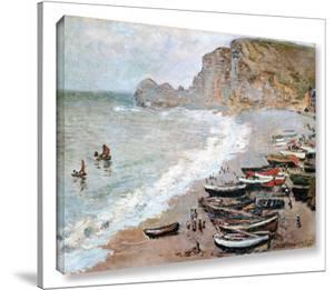 Claude Monet 'Cliffside Boats' Wrapped Canvas by Claude Monet