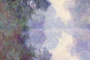 Claude Monet The Seine at Giverny Morning Mist Plastic Sign by Claude Monet