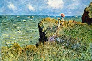 Claude Monet Walk on the Cliffs Plastic Sign by Claude Monet
