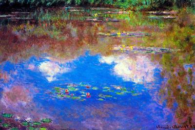 Claude Monet Water Lily Pond 4 Plastic Sign by Claude Monet