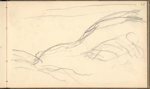 Cliff Below Dieppe (Pencil on Paper) by Claude Monet