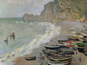 Etretat, Beach and the Porte D'Amont, 1883 by Claude Monet