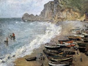 Etretat, Beach and the Porte D'Amont by Claude Monet