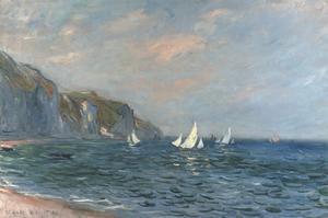 Falaises et Voiliers a Pourville by Claude Monet