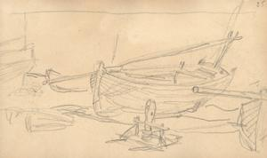 Fishing Boats on the Shingle at Etretat (Pencil on Paper) by Claude Monet