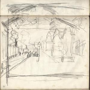 Gare Saint-Lazare (On the Main Lines Side), 1877 (Pencil on Paper) by Claude Monet