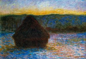 Claude Monet Haylofts Thaw Sunset Art Print Poster