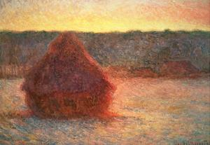Haystacks at Sunset, Frosty Weather, 1891 by Claude Monet