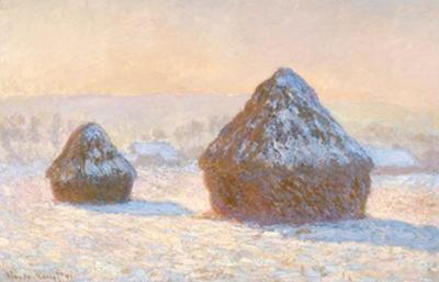 Haystacks, Snow Effect, Morning by Claude Monet by Claude Monet