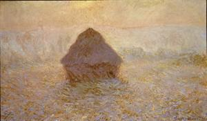 Haystacks, Sun in the Mist by Claude Monet