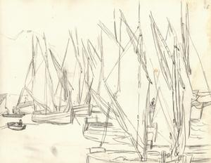 In the Port at Honfleur (Pencil on Paper) by Claude Monet