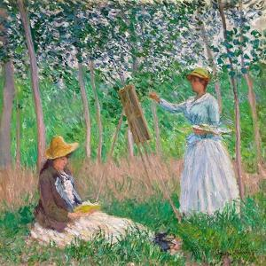 In the Woods at Giverny: Blanche Hoschedé at Her Easel with Suzanne Hoschedé Reading, 1887 by Claude Monet