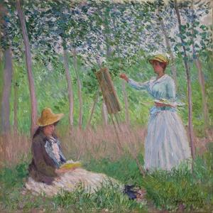 In the Woods at Giverny: Blanche Hoschede at Her Easel with Suzanne Hoschede Reading, 1887 by Claude Monet