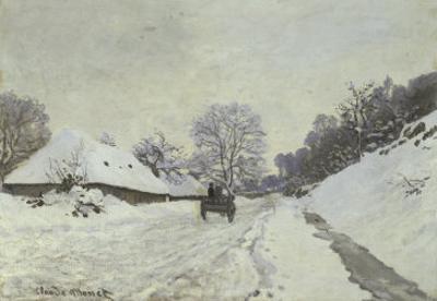 La Charrette, Route Sous La Neige a Honfleur by Claude Monet